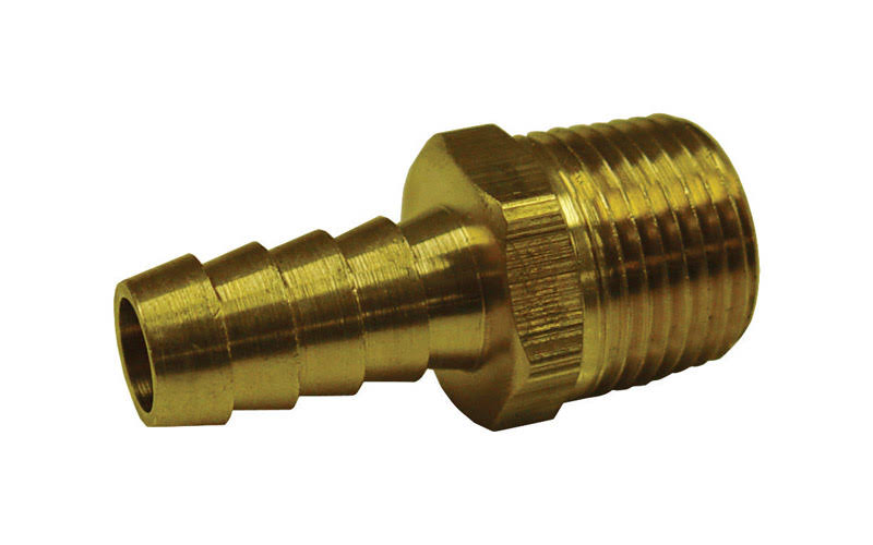 "Jmf Hose Barb - Yellow Brass, 3/16"" x 1/4"""