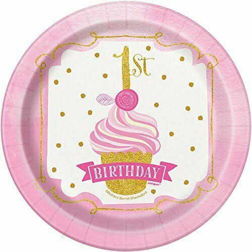 "Girls First Birthday Party Plates - Pink/Gold, 7"", 8ct"