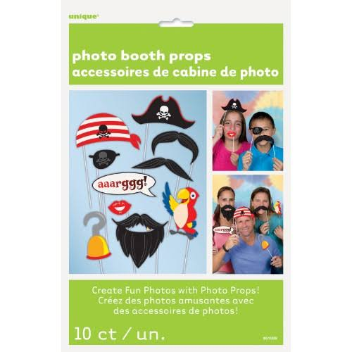 Unique Pirate Photo Booth Props - 10 Pack