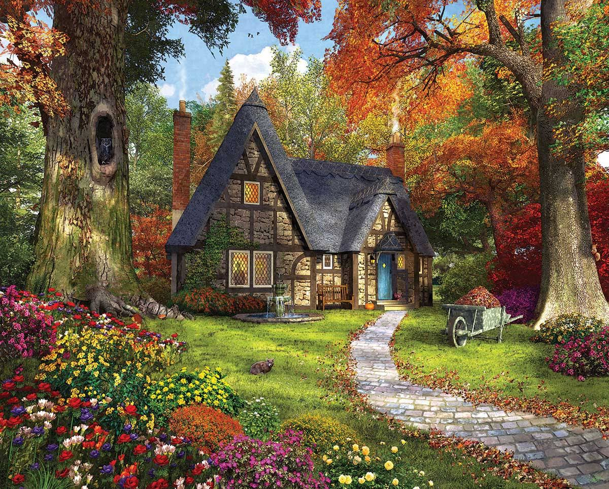White Mountain Puzzles Autumn Cottage - 1000 Piece Jigsaw Puzzle