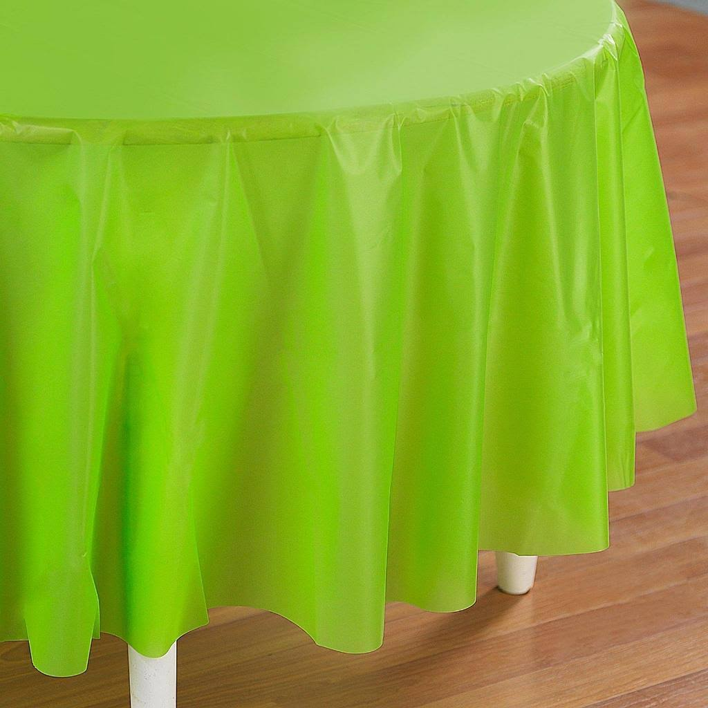 Creative Converting Octy Round Plastic Table Cover - Fresh Lime, 82""