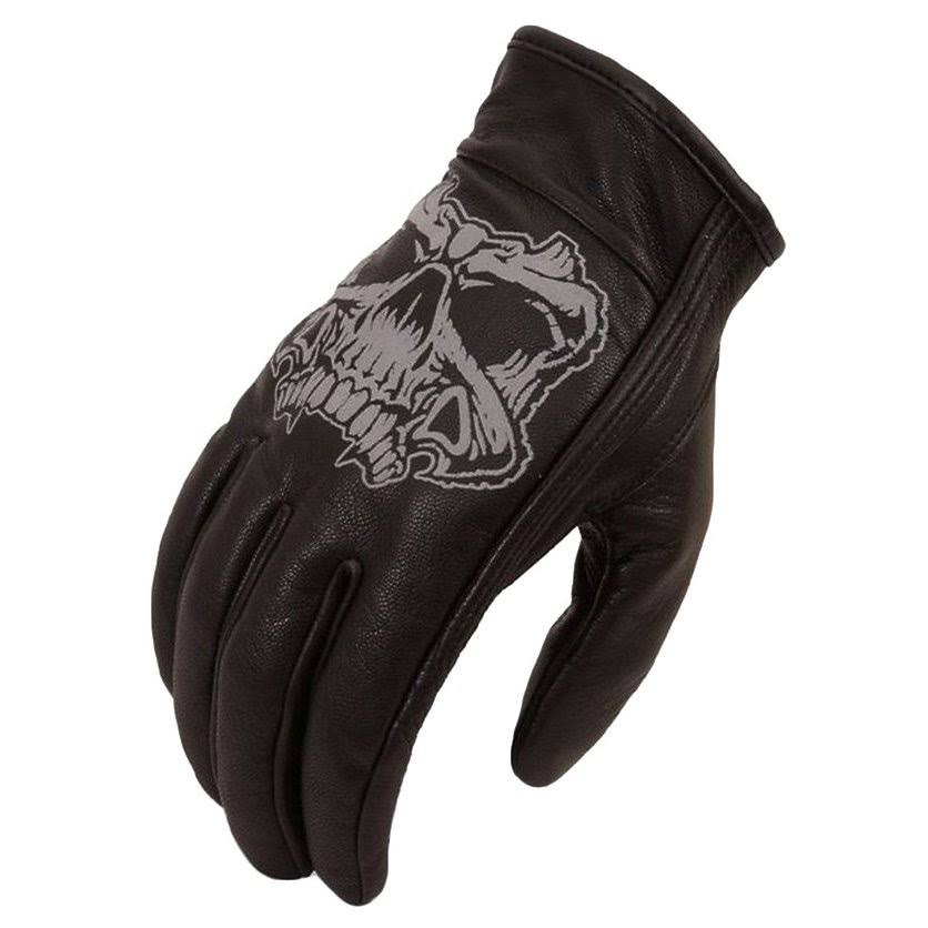 First Manufacturing Short Reflective Skull Gloves, Black