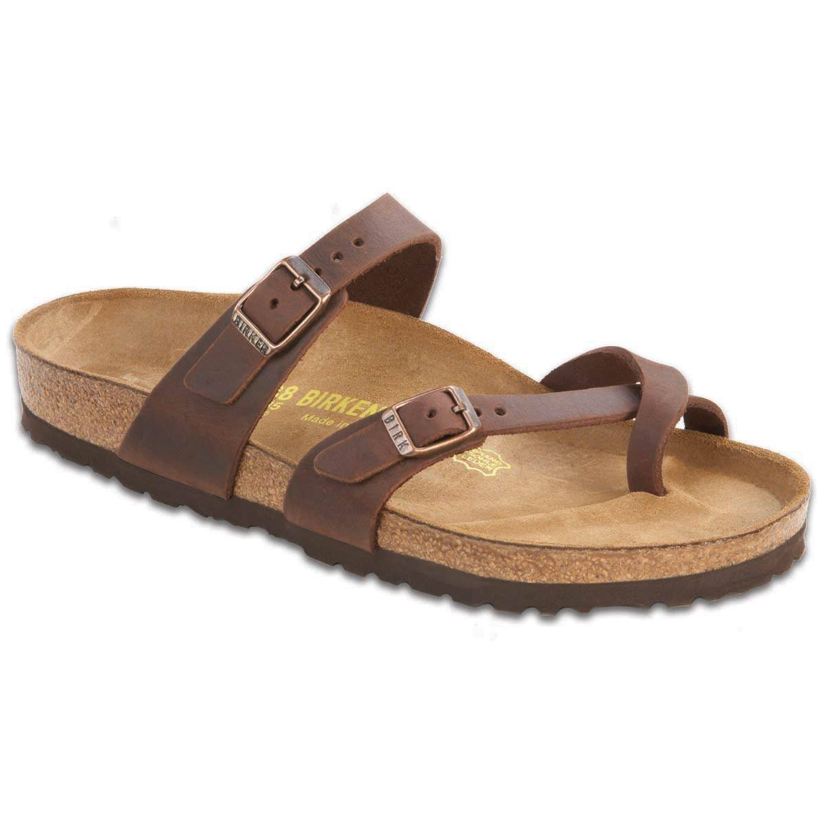 Birkenstock Mayari Waxy Leather Habana Sandals - Brown, 7.5 US
