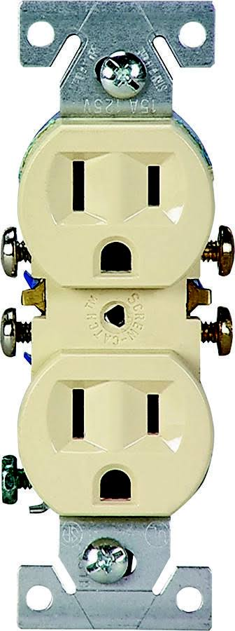Cooper Wiring Cooper Grounded Straight Blade Duplex Receptacle - Ivory