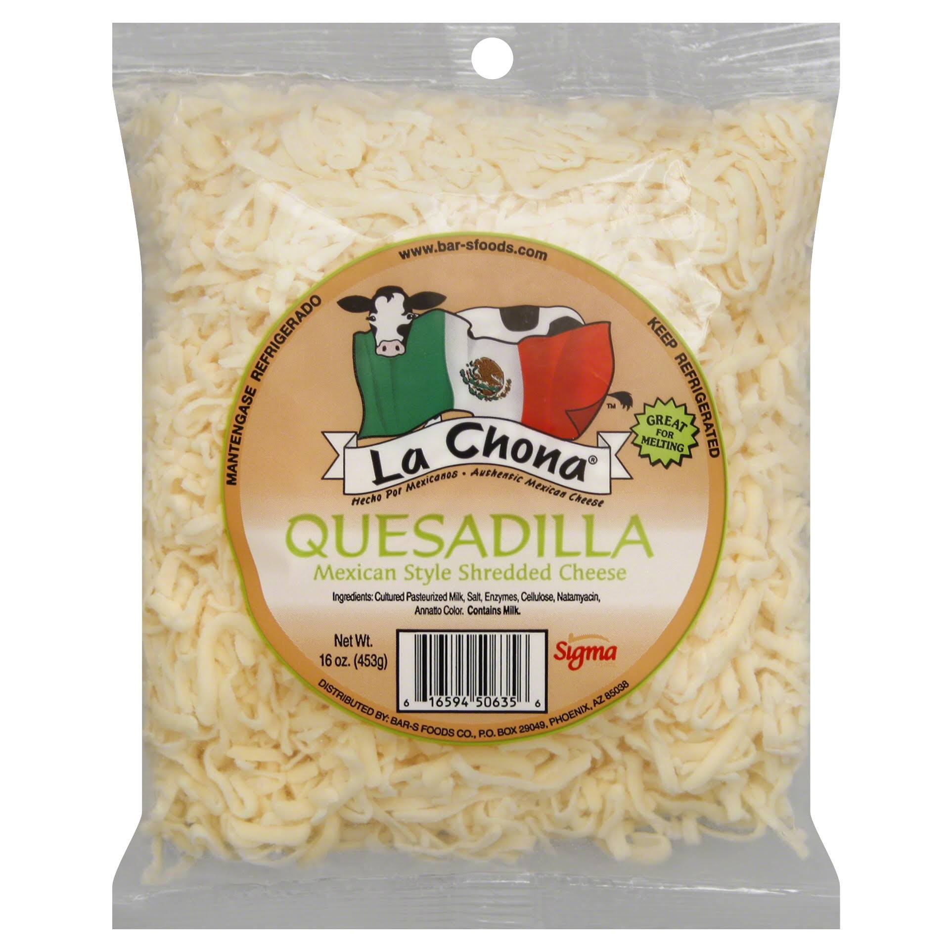 La Chona Mexican Style Shredded Cheese Quesadilla - 16oz