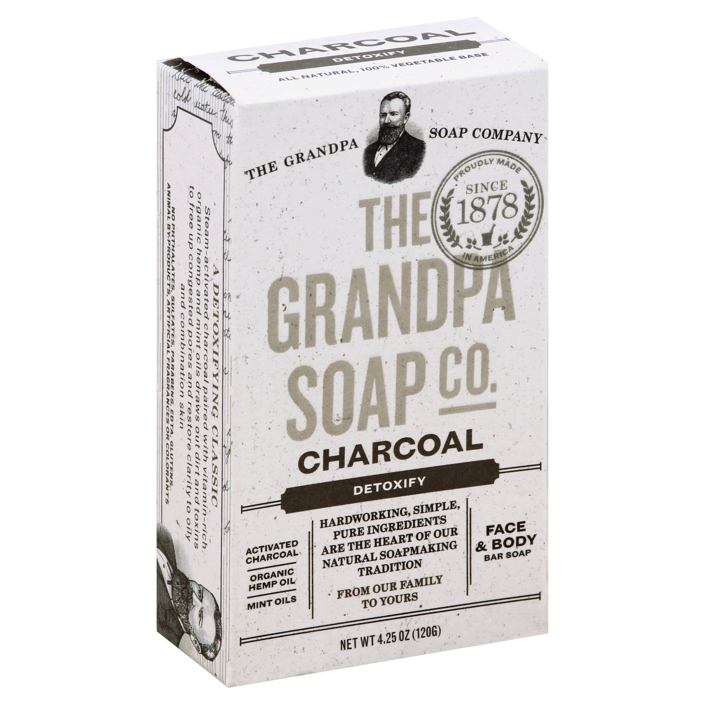 The Grandpa Soap Company Face and Body Bar Soap - Detoxify, Charcoal, 4.25oz