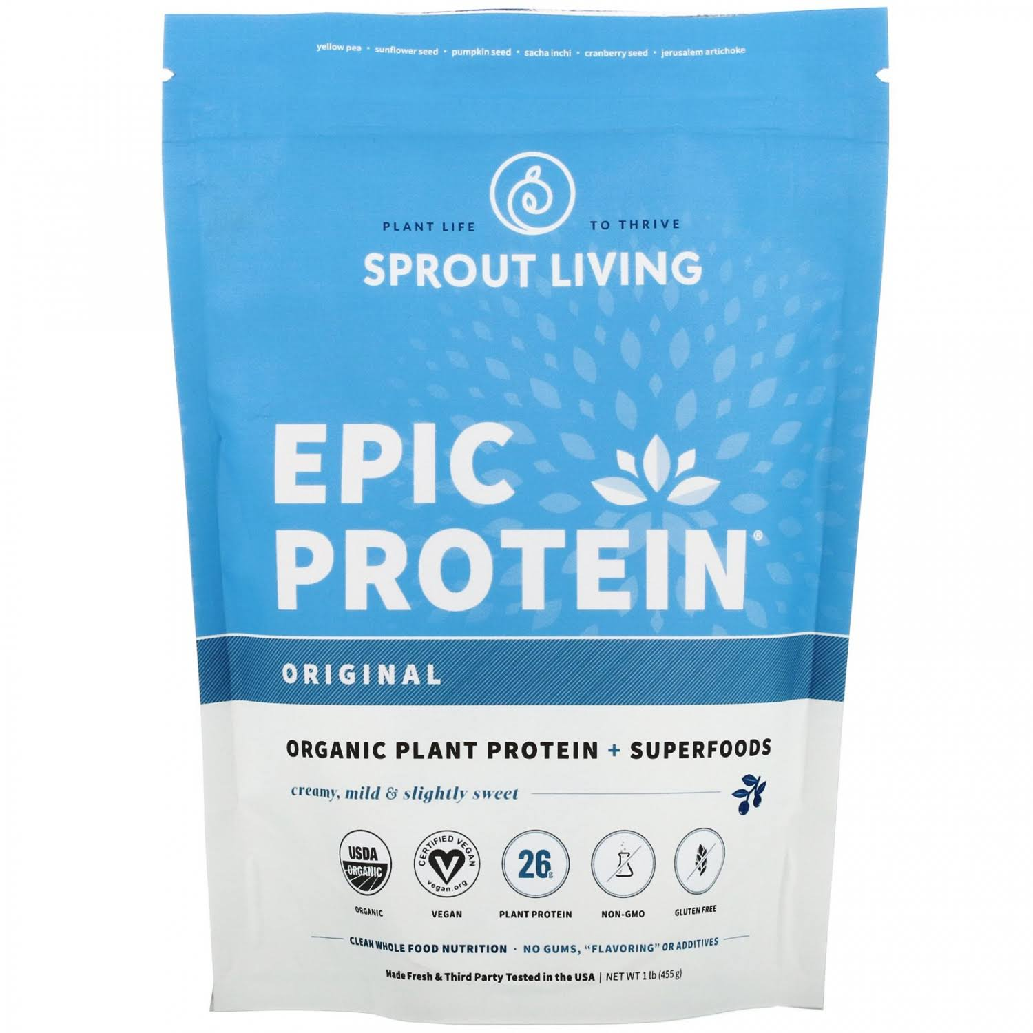 Sprout Living Epic Plant-based Protein Powder - Original, 1lb