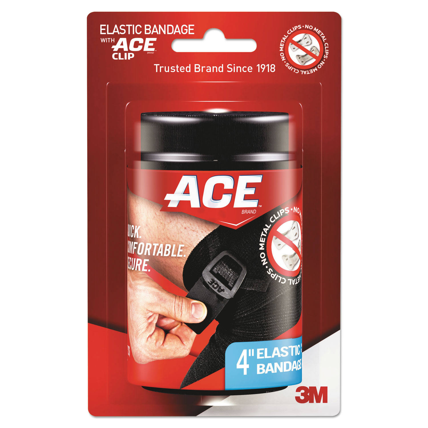 "Ace Elastic Bandage - with Clip, 4"", Black"