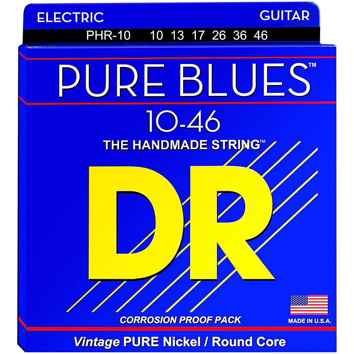 DR Strings Pure Blues Pure Nickel Wrap Round Core - 10-46