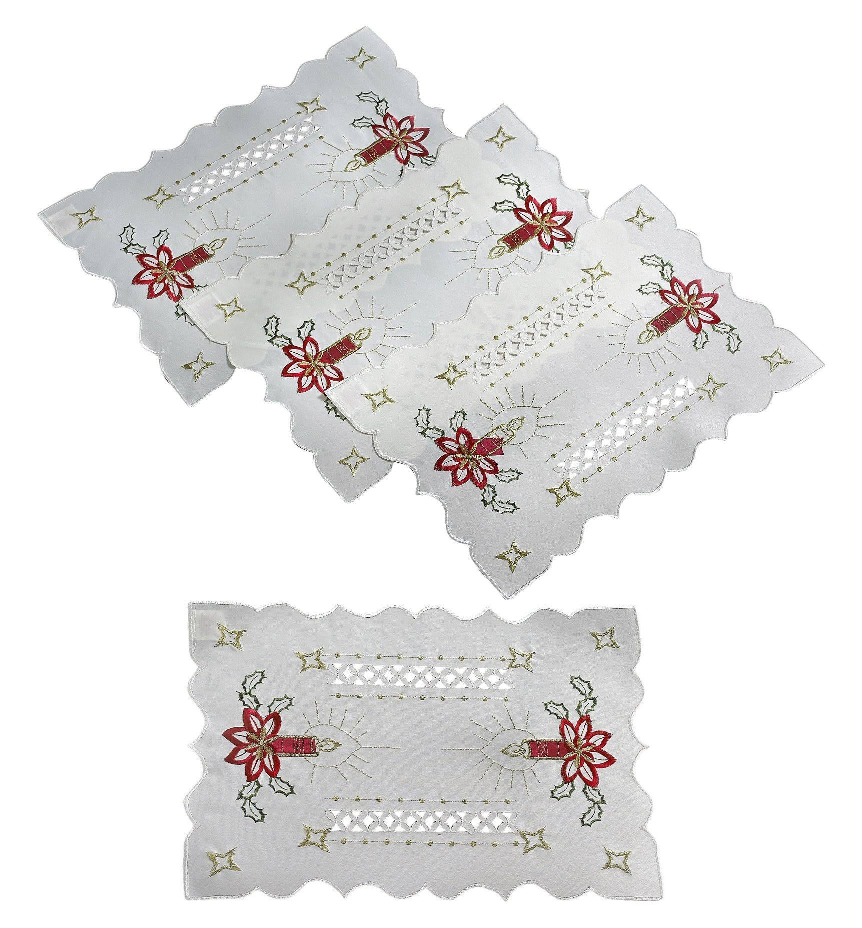 Violet Linen Seasonal Holiday Christmas Candles Holiday Embroidered Design Table Runner, Size: 13 inch by 70 inch, White