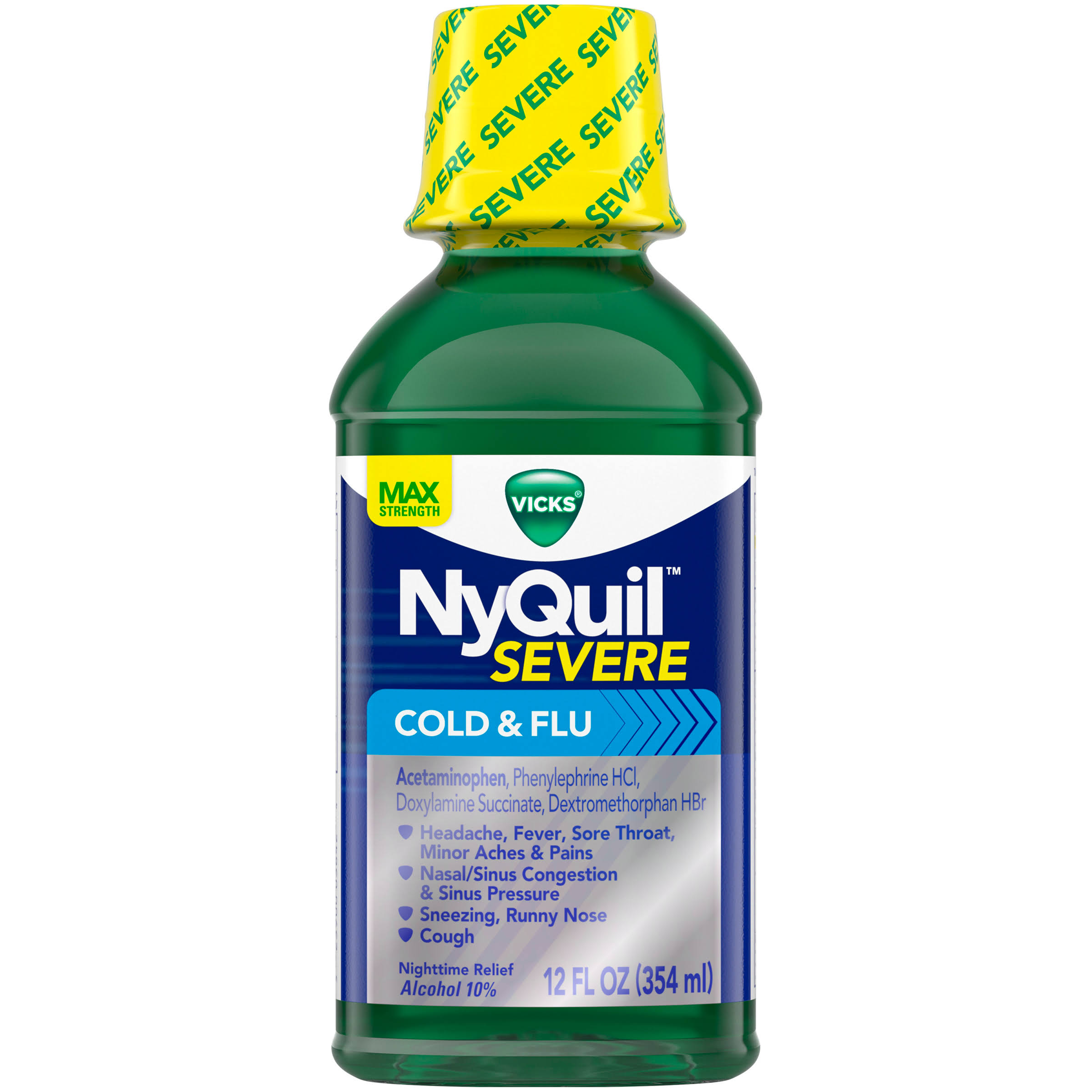 Vicks Nyquil Original Severe Cold & Flu Relief Liquid - 354ml