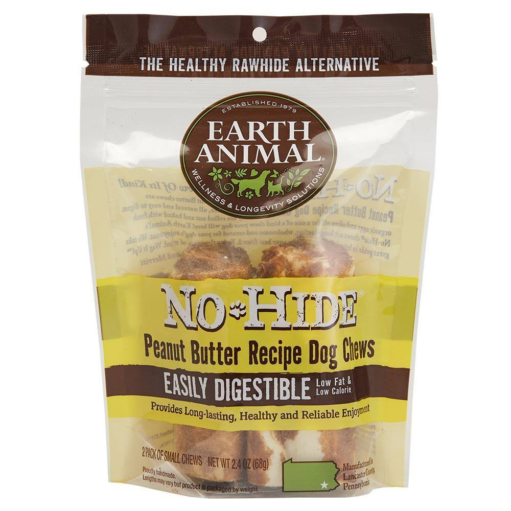 "Earth Animal No Hide Chews Peanut Butter 4"" (2 Pack)"