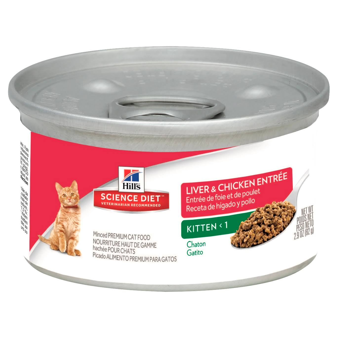 Science Diet Cat Food, Premium, Kitten Less than 1, Minced, Liver & Chicken Entree - 2.9 oz