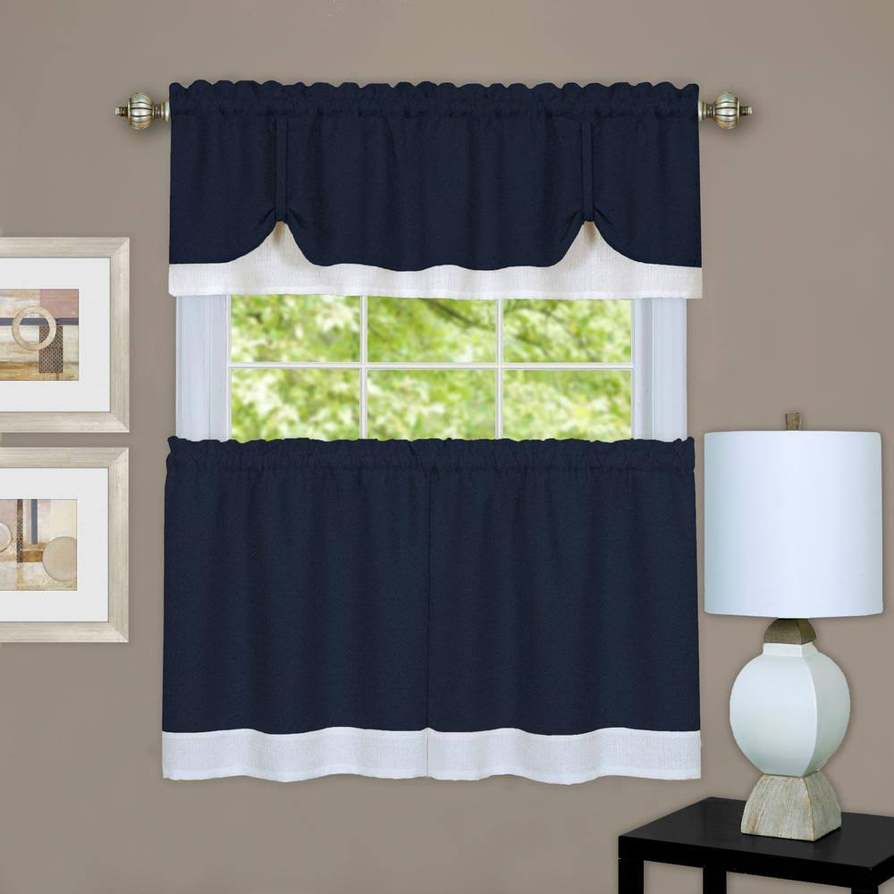 "Achim Home Furnishings Darcy Tier Pair, 58 by 36"", Navy/White"