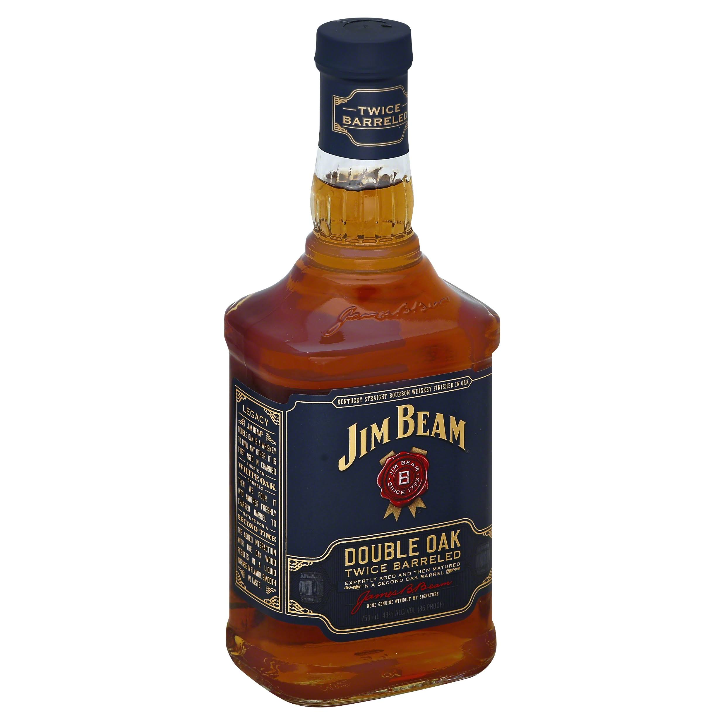 Jim Beam Whiskey, Kentucky Straight Bourbon, Double Oak Twice Barreled - 750 ml
