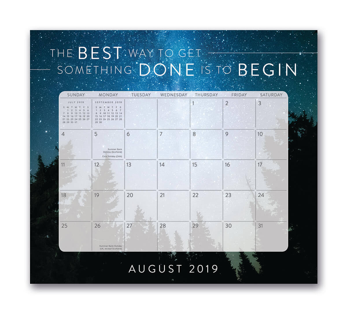 Orange Circle Studio 2020 Magnetic Monthly Calendar Pad, August 2019 - December 2020, Words to Live by
