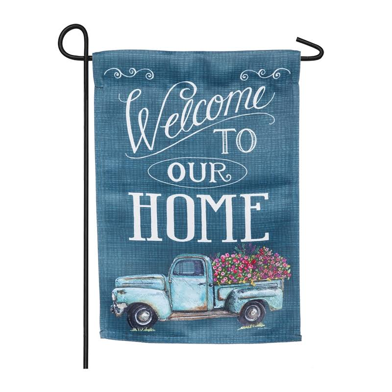 Evergreen Floral Truck Welcome Suede Garden Flag