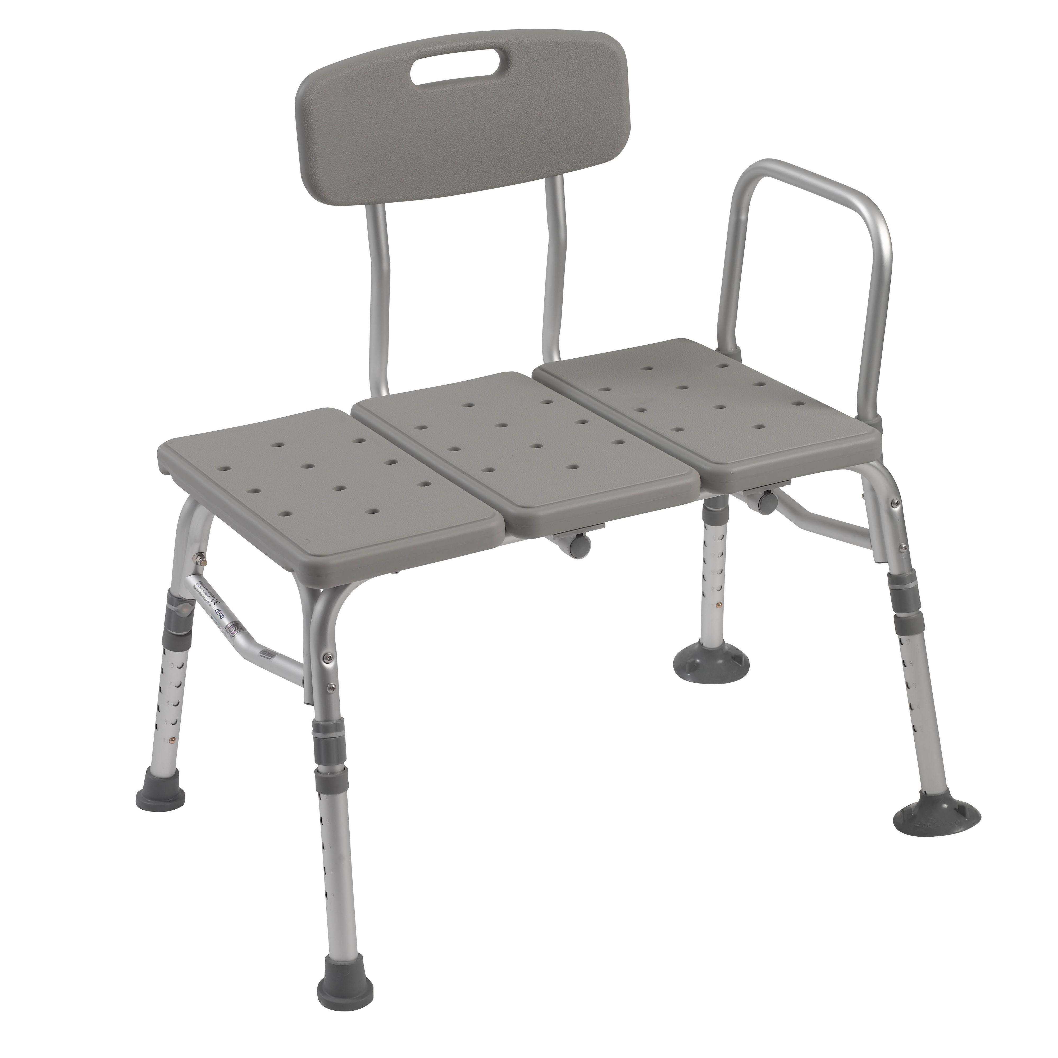 Drive Medical Plastic Tub Transfer Bench with Adjustable Backrest - Gray