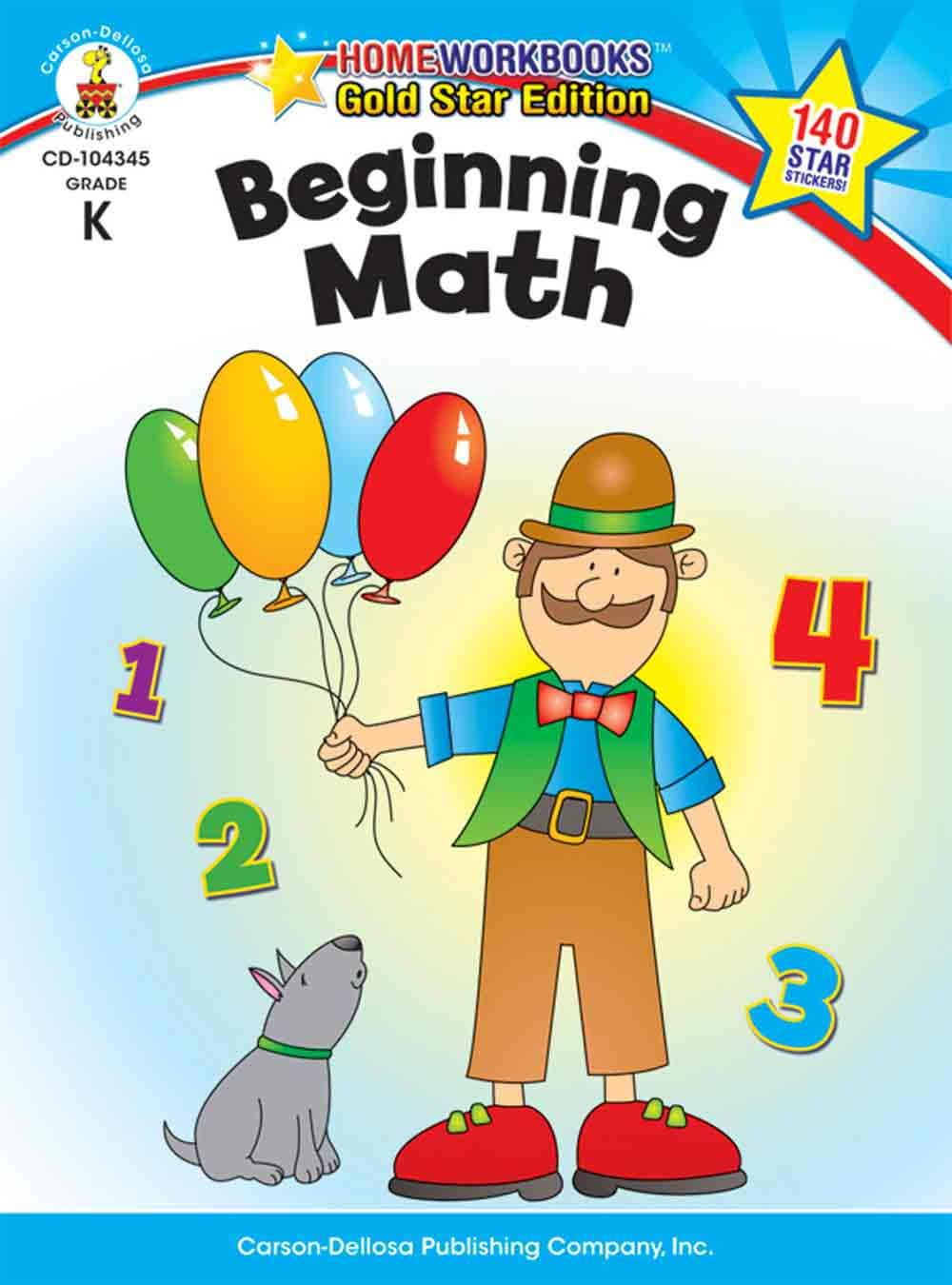 Beginning Math, Grade K: Gold Star Edition Home Workbooks - Carson Dellosa Publishing