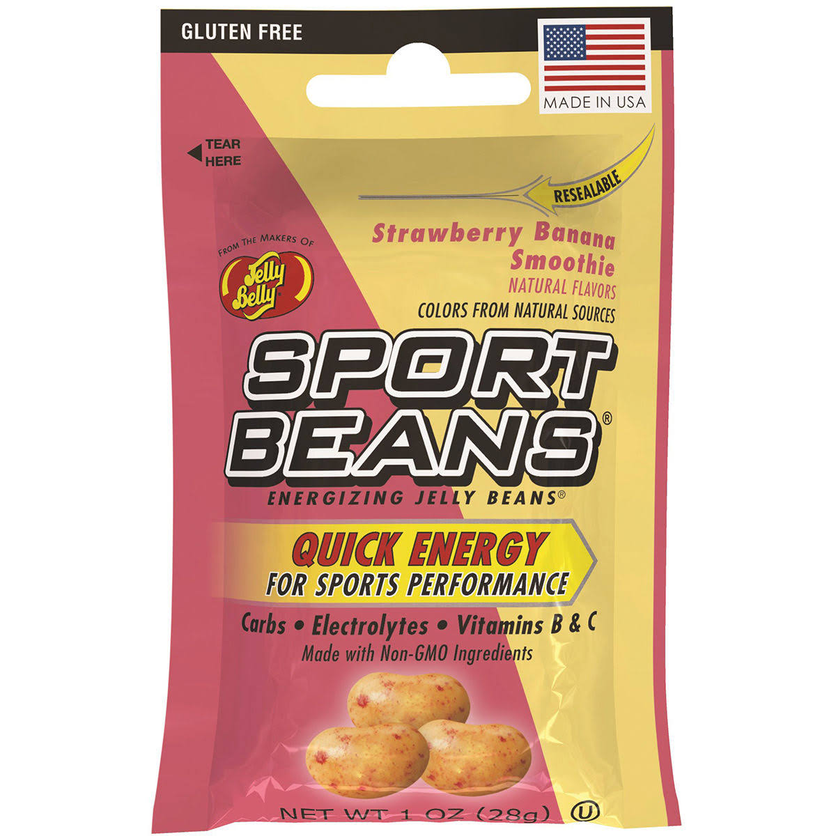 Jelly Belly Sports Beans - Strawberry Banana Smoothie, 1oz
