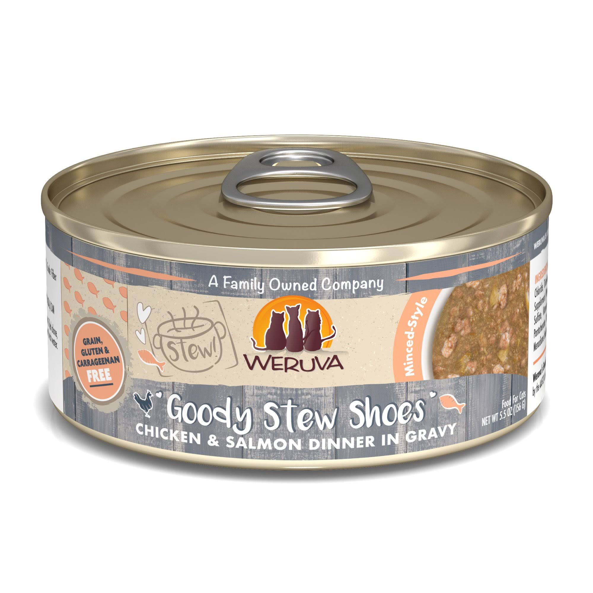 Weruva Stew! Goody Stew Shoes Chicken & Salmon Dinner in Gravy Food for Cats - 5.5 oz