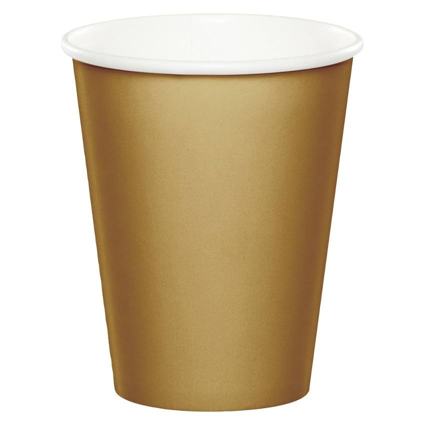 Creative Converting Paper Cups - Gold, 9oz, x24