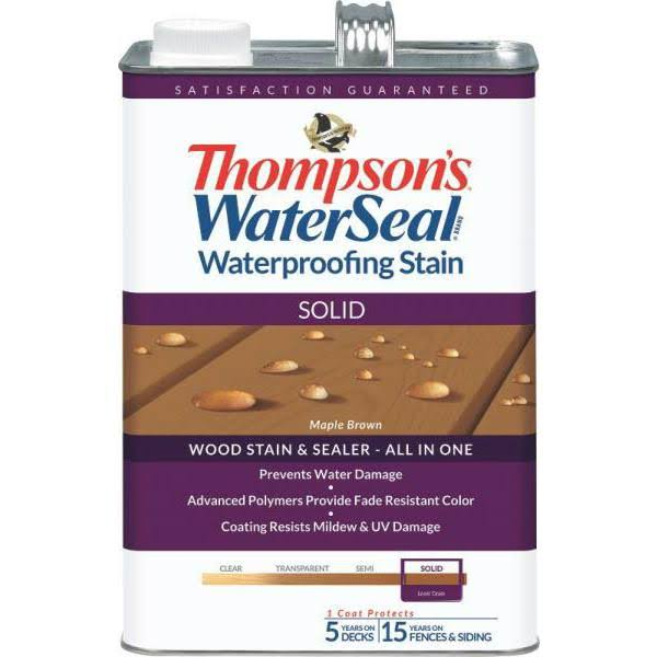 Thompson's WaterSeal Solid Waterproofing Stain - Maple Brown, 1gal