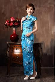 chinese restro cheongsam long lace flowers embroidery high slit