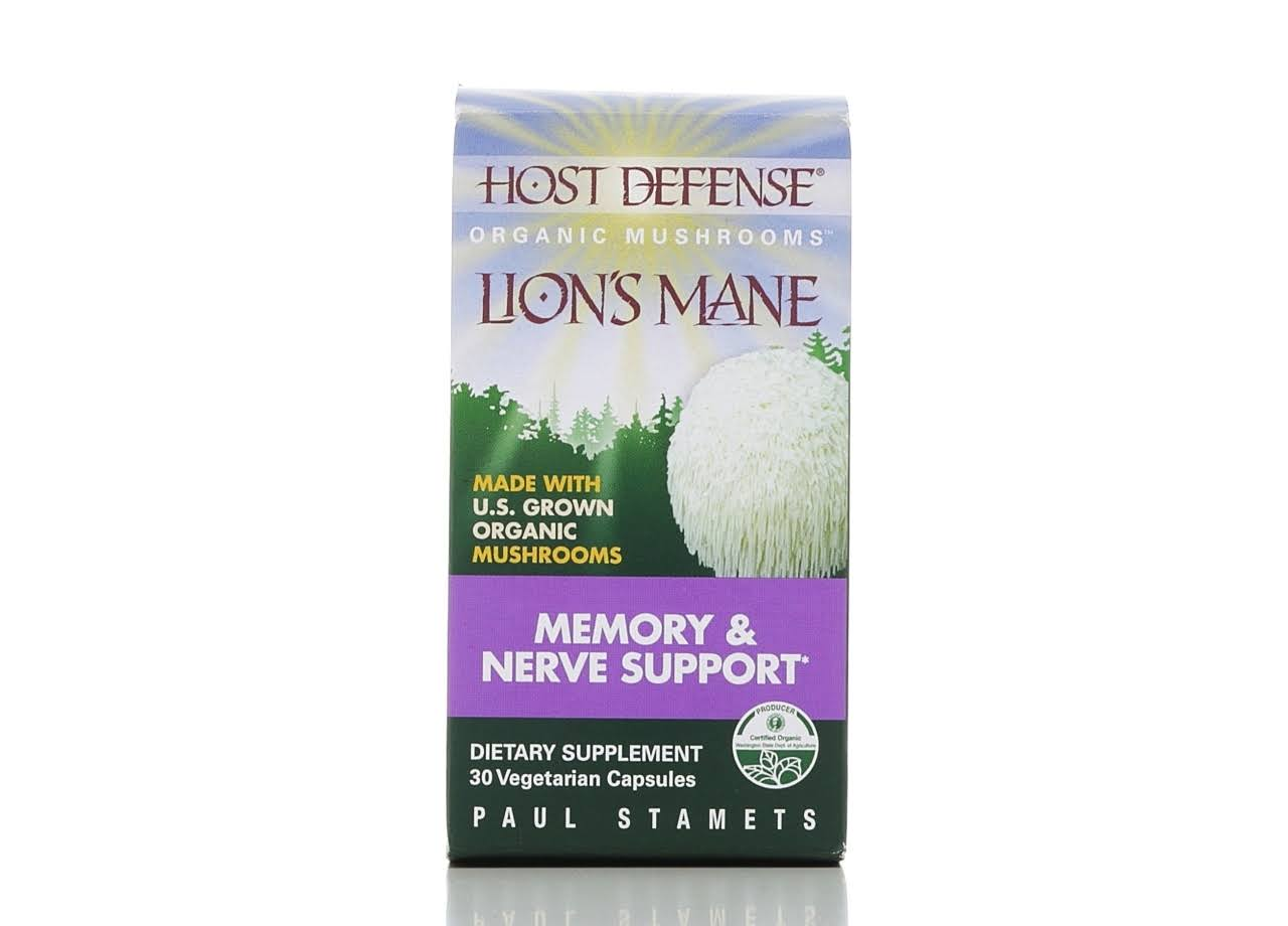 Host Defense Lion's Mane Dietary Supplement - Memory & Nerve Support, 30 Capsules