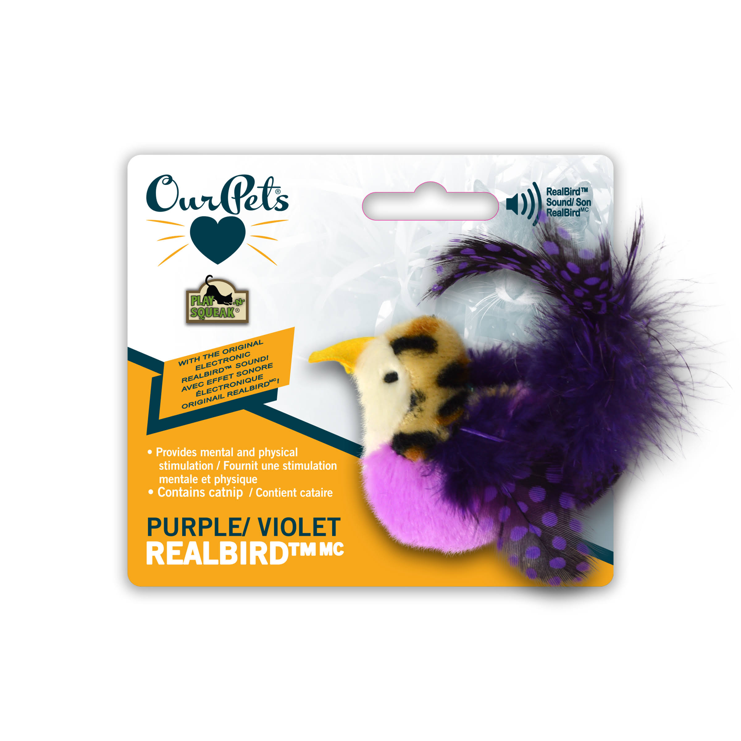 Ourpets RealBird, Cat Toy, Purple