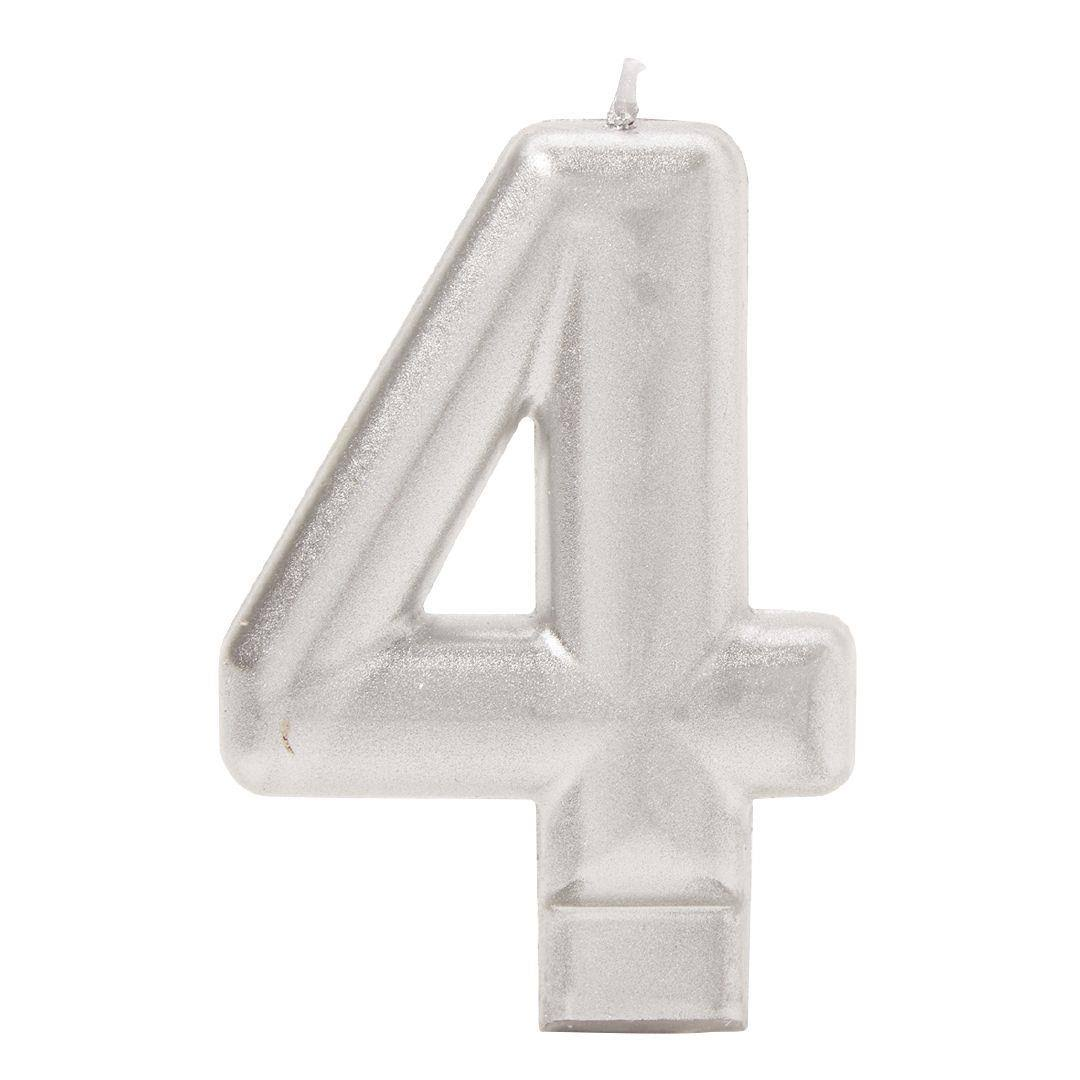 Amscan Candle Metallic Numeral #4 Silver