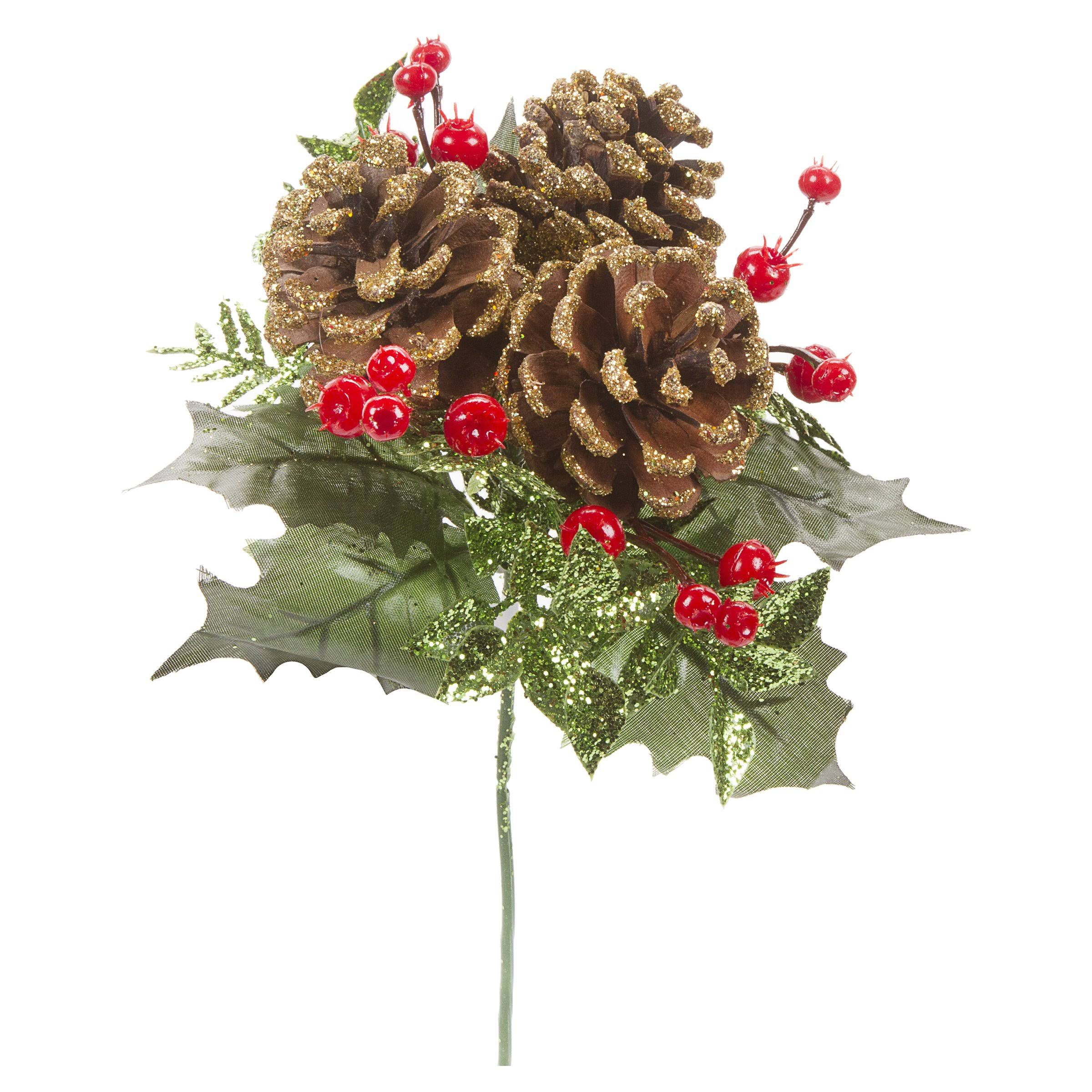 Darice Pinecone and Holly Pick with Glitter 8 Inches