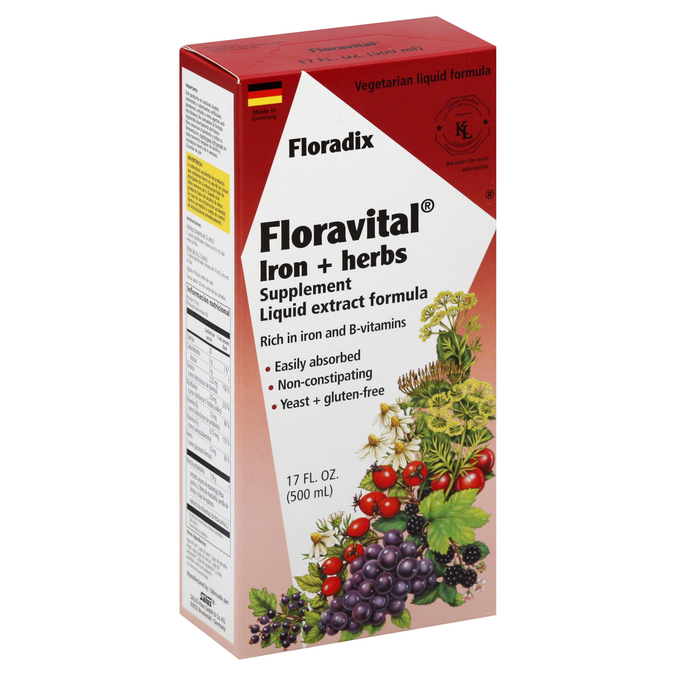Floradix Floravital Iron and Herbs Supplement - 500ml