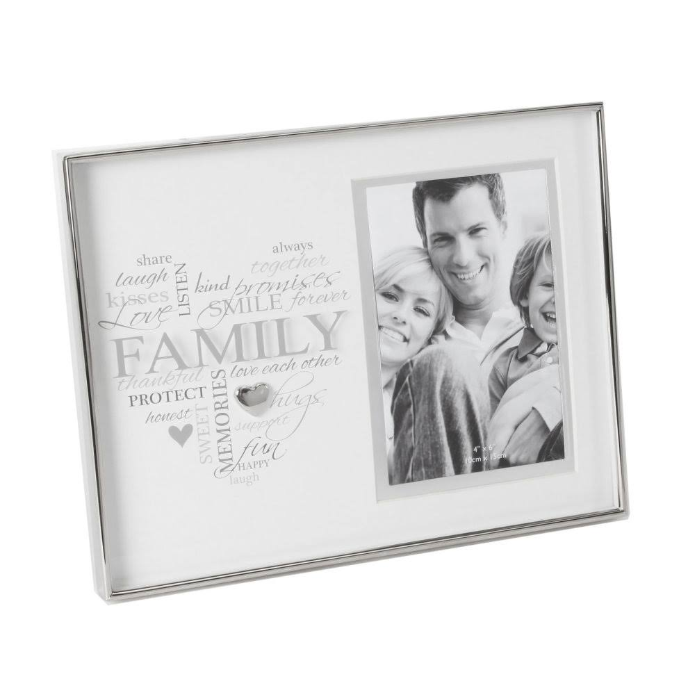 WIDDOP Heartfelt Moments 6'x4' Photo Frame with Heart Shape Sentiment Script - Family
