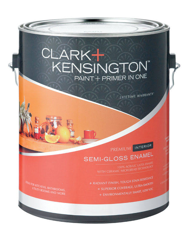 Clark+Kensington Semi-Gloss Tintable Base Ultra White Base Acrylic Latex Paint and Primer 1 GA