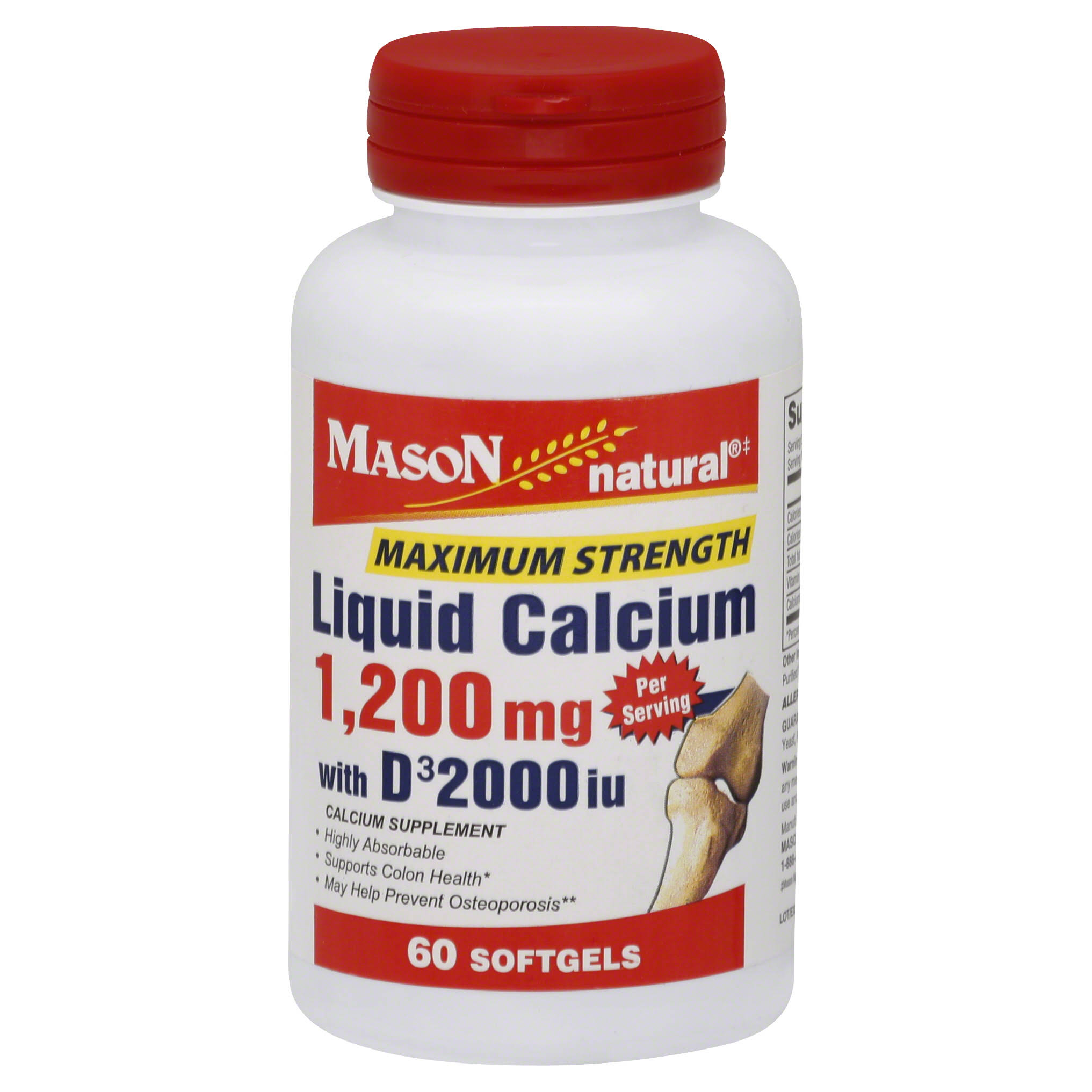 Mason Vitamins Natural Liquid Calcium Supplement - 1,200mg, 60 Softgels