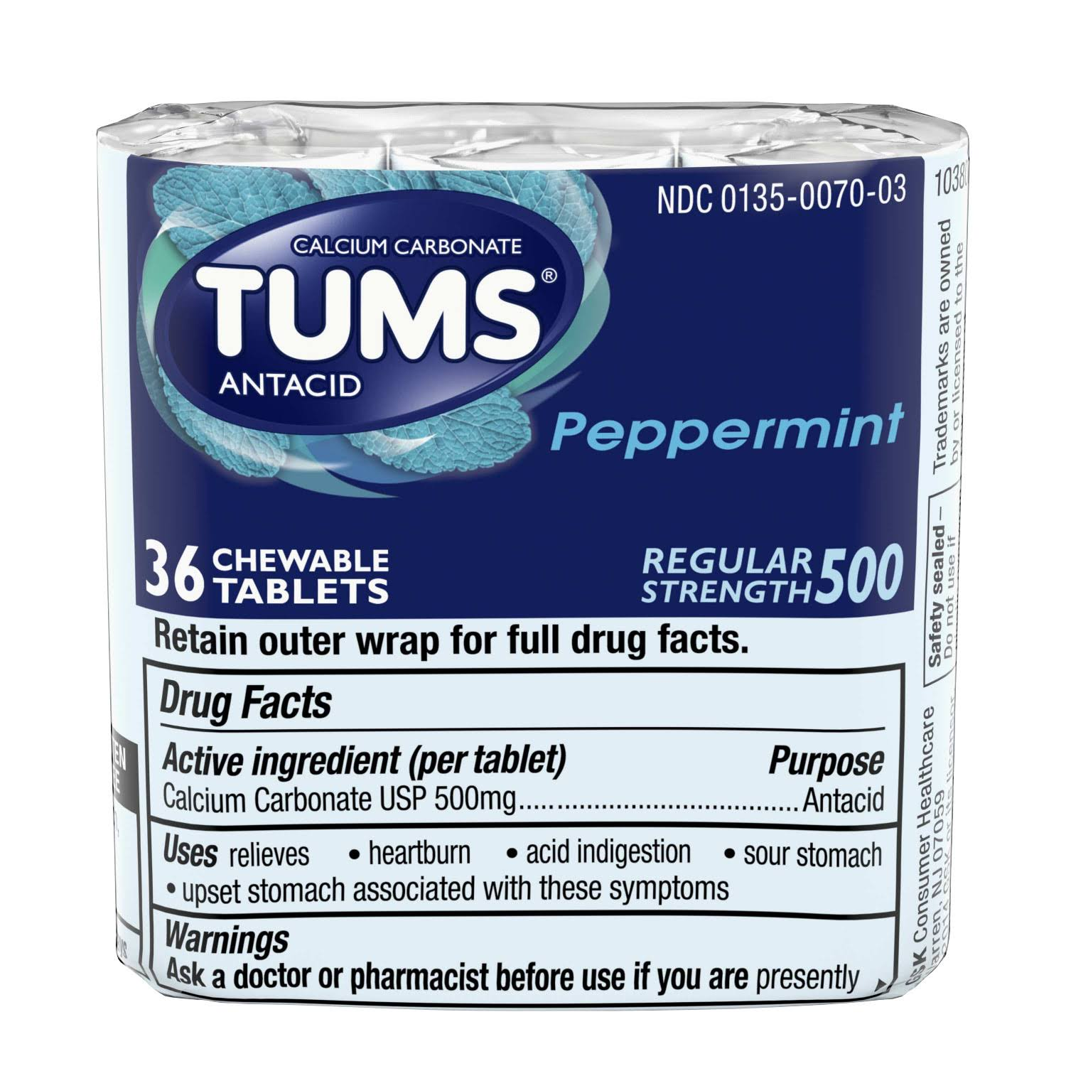 Tums Regular Strength Antacid - Peppermint, 36 Chewable Tablets