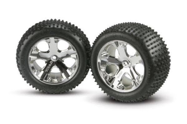 Traxxas 3770 Alias Pin Tyres Assembled on All-Star Wheels - 7.1cm, Mirror-Chrome