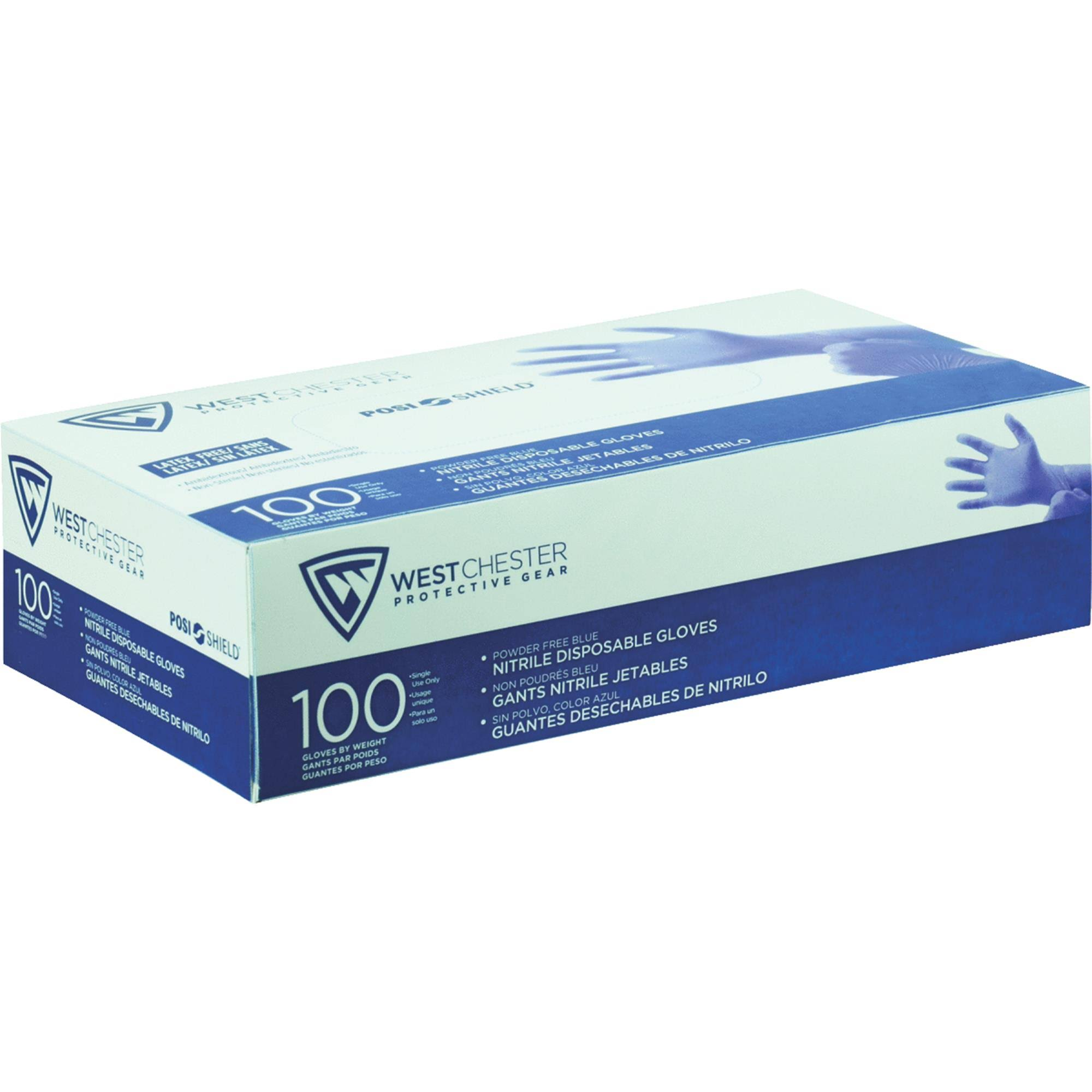 West Chester Food Grade Disposable Nitrile Gloves - Light Blue, Medium, 100ct