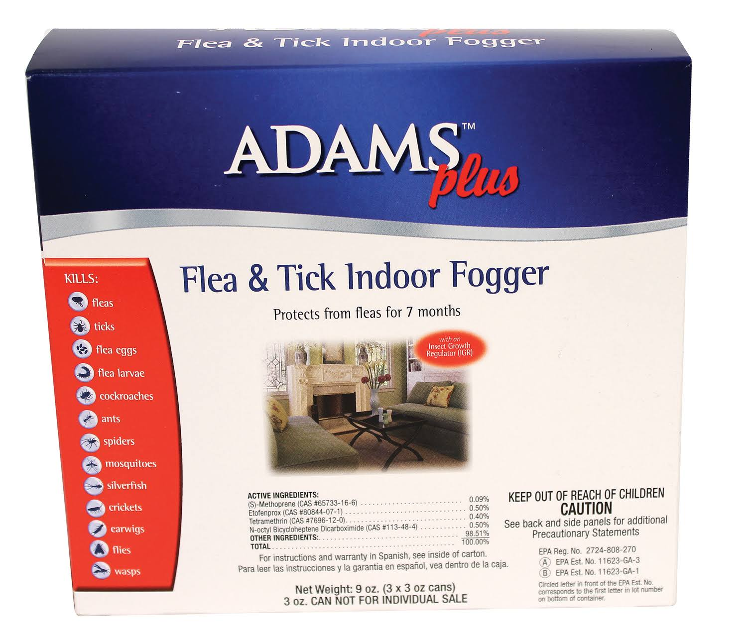 Adams Plus Flea and Tick Indoor Fogger - 3pk
