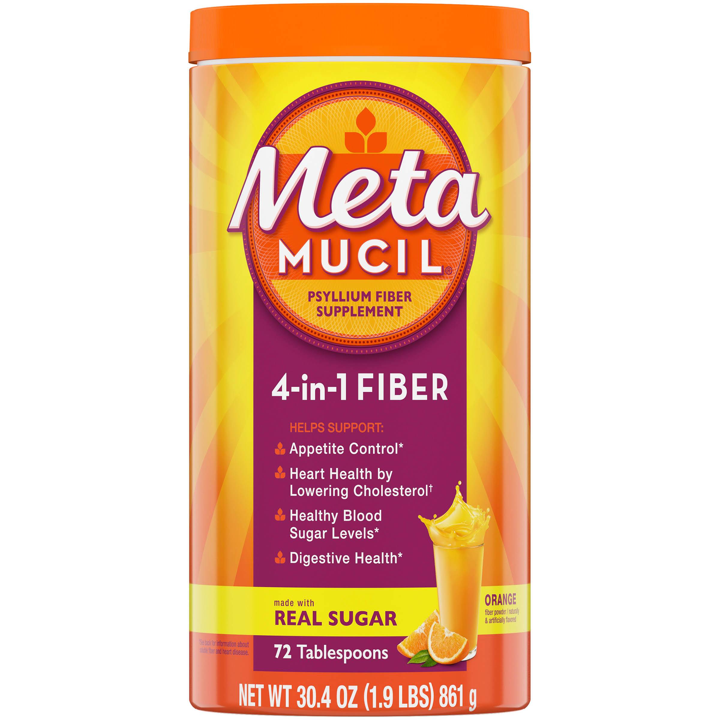 Meta Mucil Fiber! Orange Smooth 4 in 1 Multi Health Fiber Powder - 30.4oz