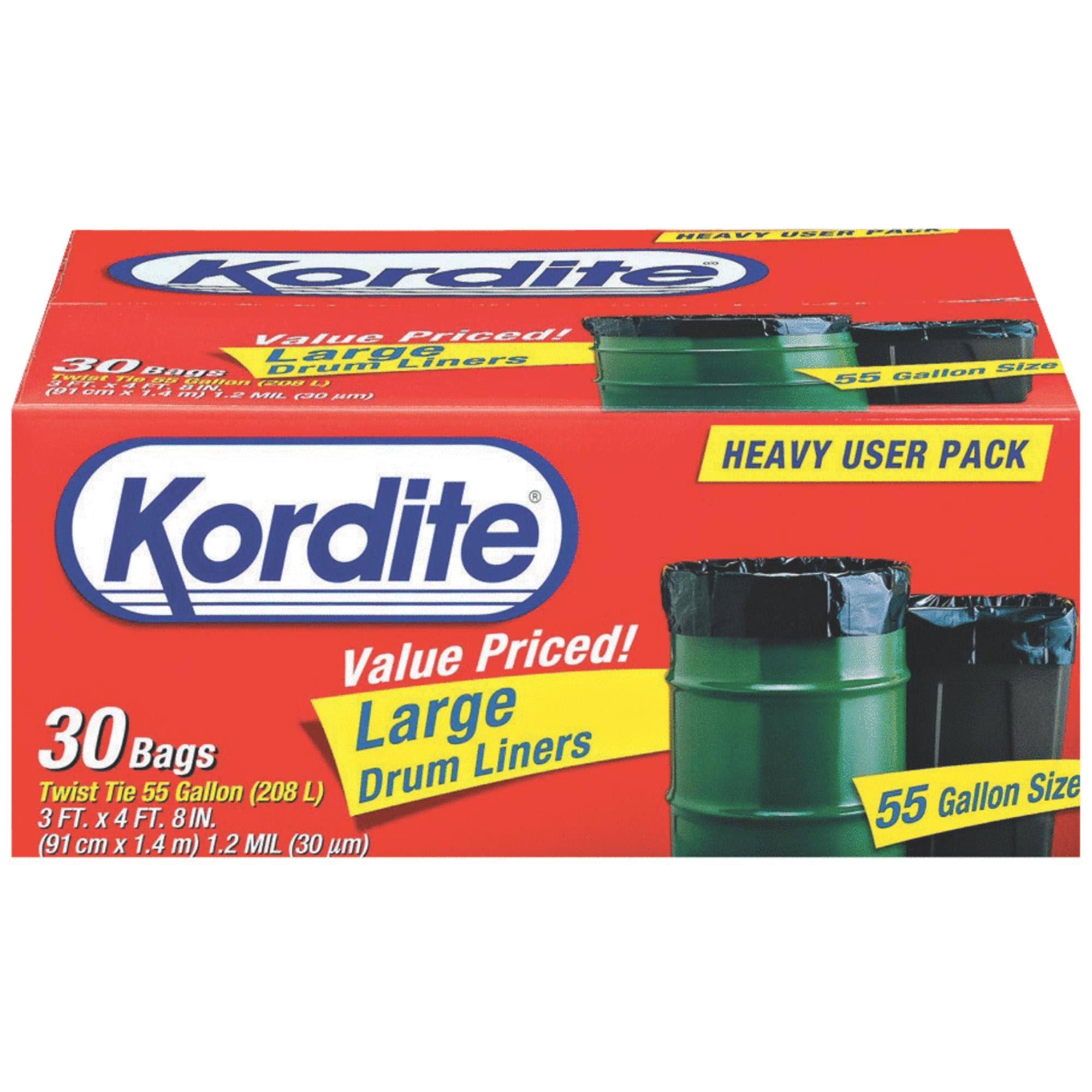 Kordite Twist Tie Large Drum Liners - 55 Gallon, 30 count