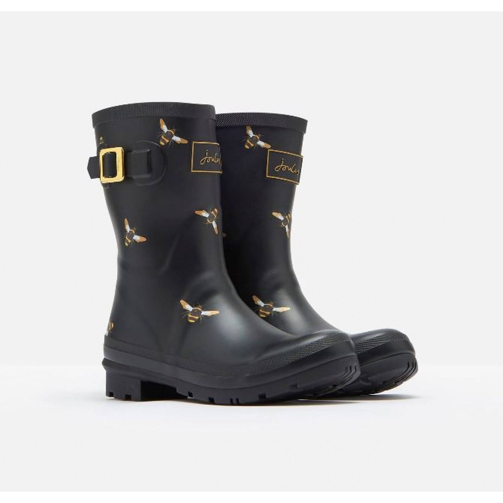 Joules Molly Mid Height Printed Welly Black Metallic Bees