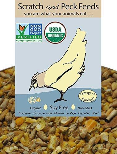 Scratch and Peck Feeds - Organic Layer Feed with Corn for Chickens Ducks - 25-lb