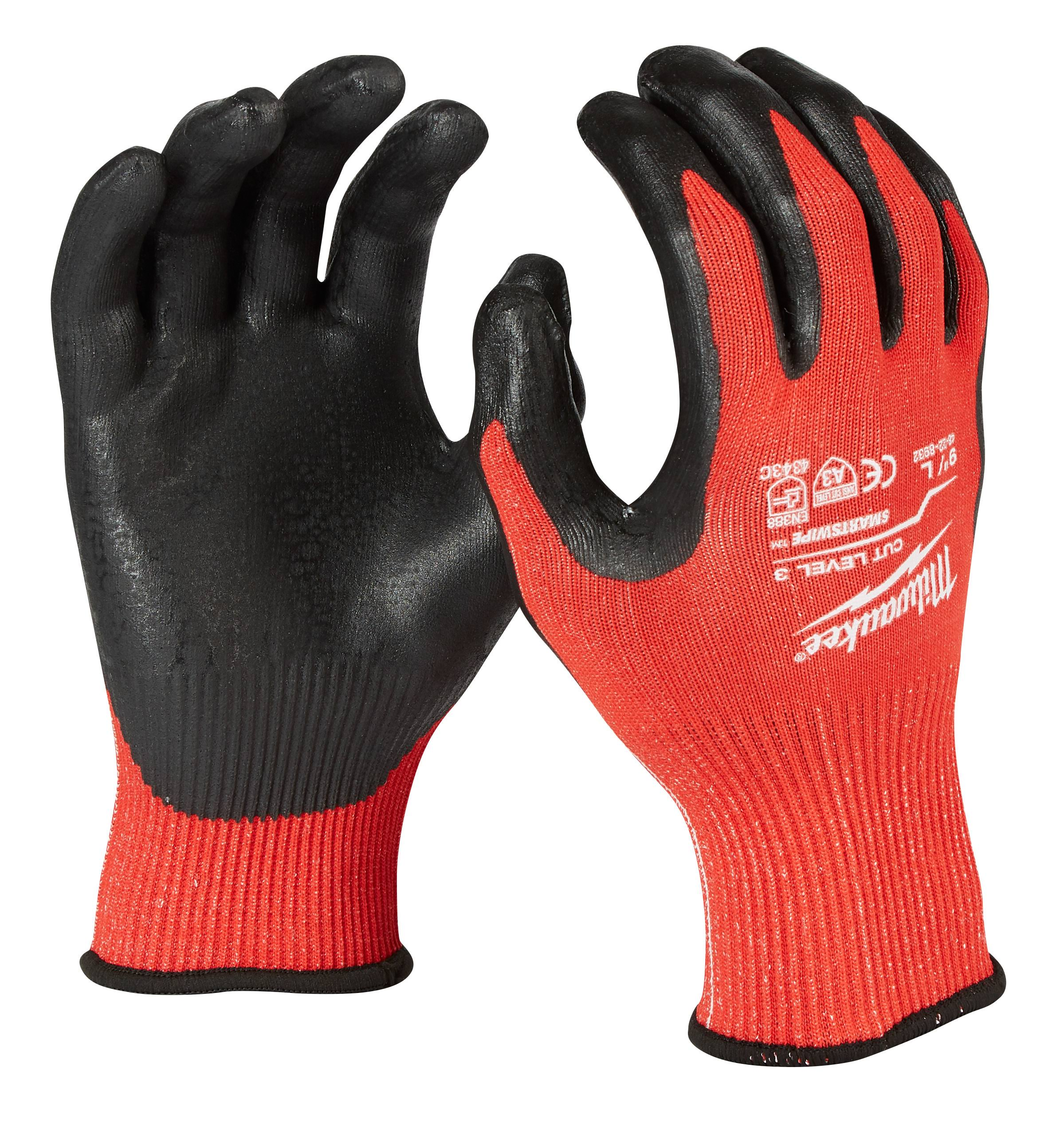 Milwaukee Men's Cut 3 Nitrile Utility Gloves - Red and Black, Large