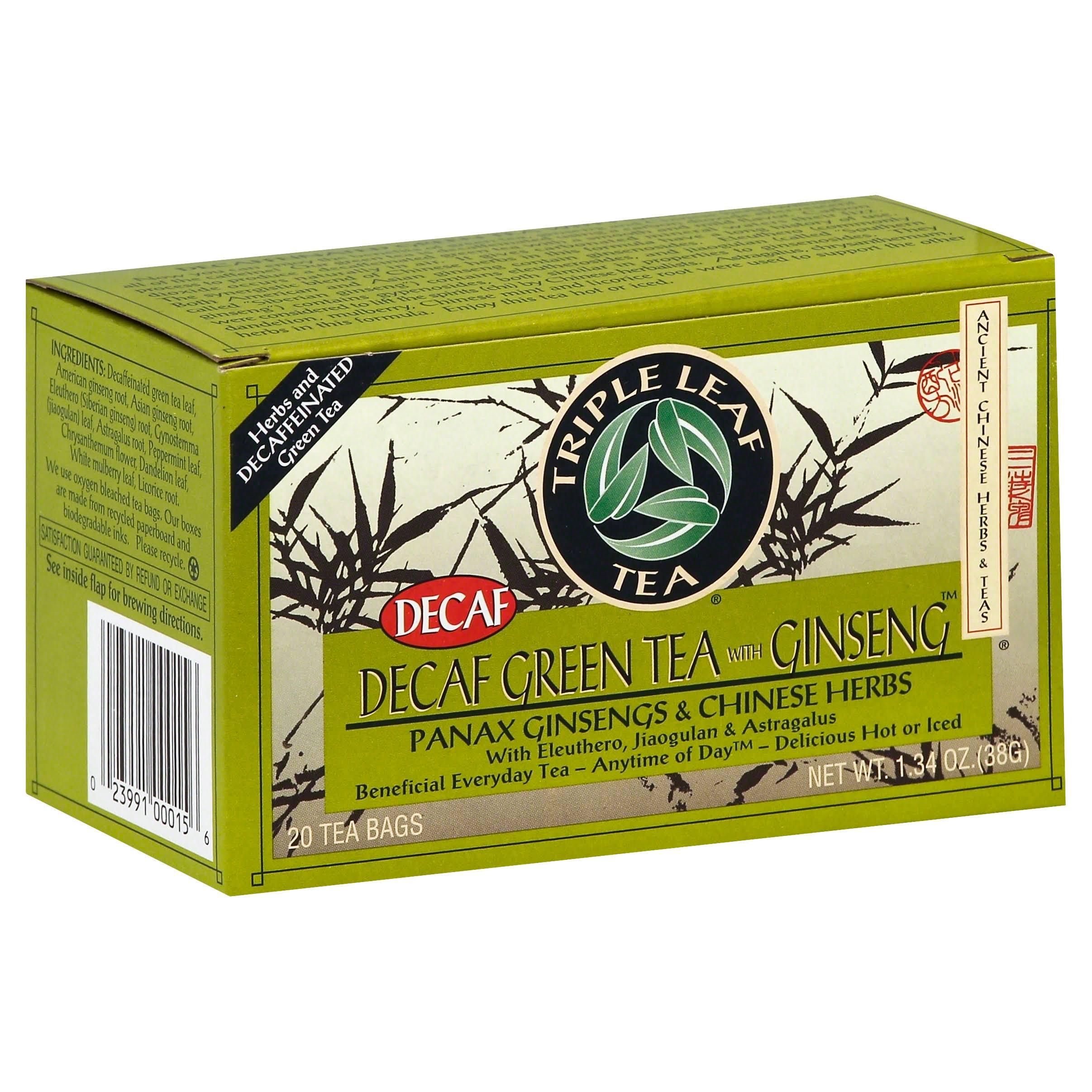 Triple Leaf Tea Decaf Green Tea - Ginseng, 20 Bags, 40g