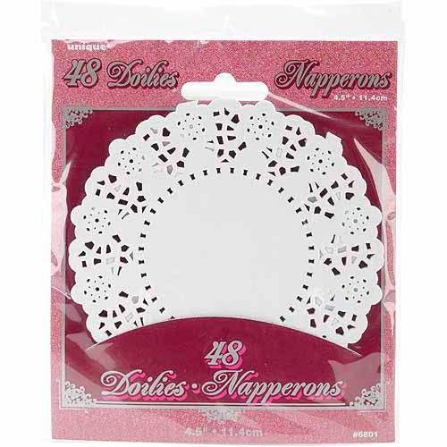 "Unique Industries Paper Doilies - White, 4 1/2"", 48pcs"