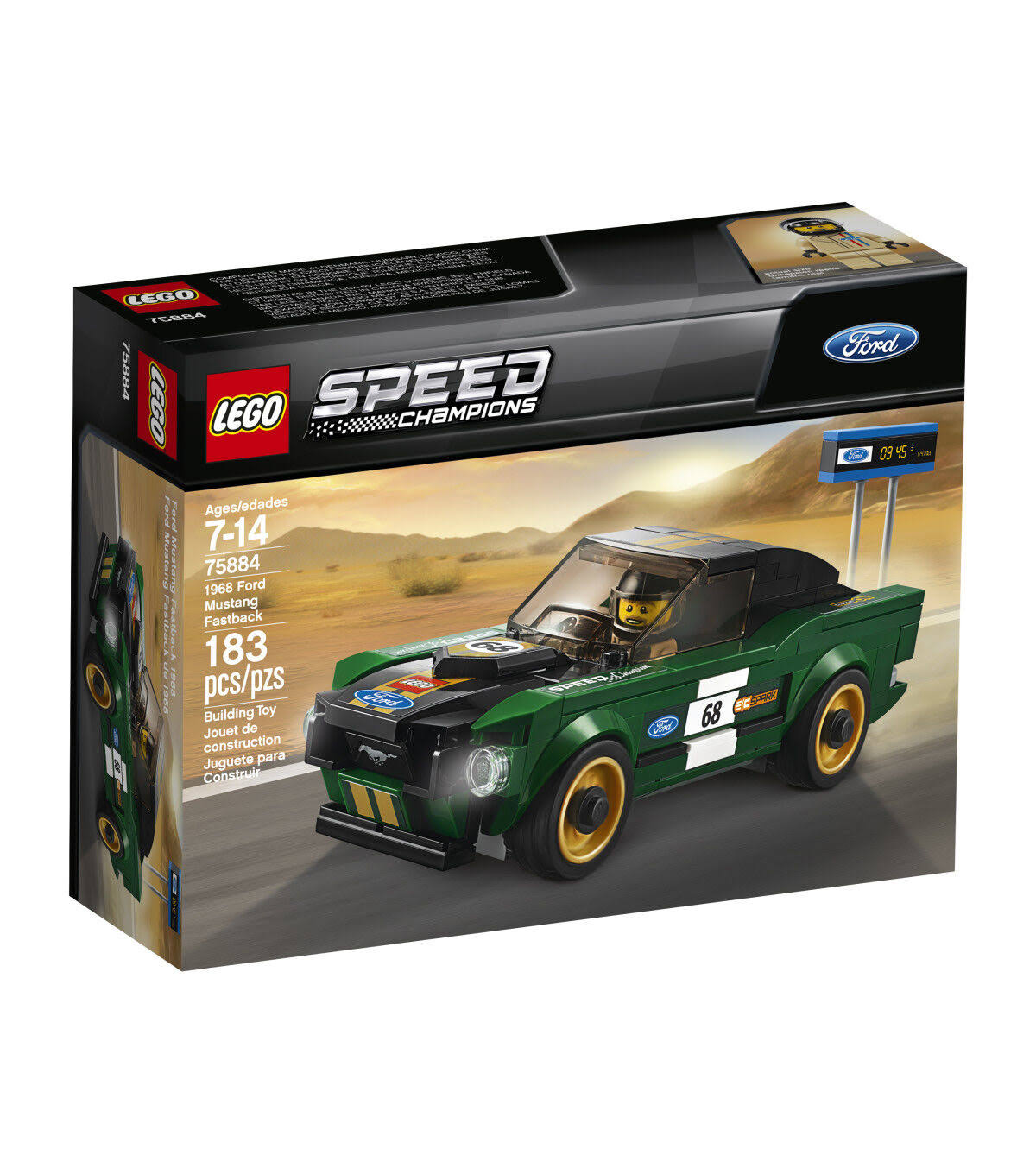 Lego Speed Champions 75884 1968ford Mustang Fastback Model Car Toy