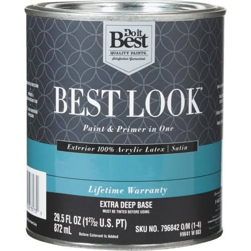 Sherwin Williams Best Look 100% Acrylic Latex Paint & Primer in One Satin Exterior House Paint HW41W0803-14
