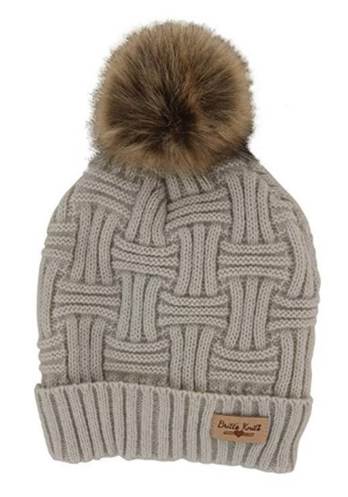 Britt's Knits Women's Plush-Lined Knit Hat with Pom